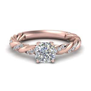 276f01ca539ace Twisted Delicate Diamond Ring Cushion Cut diamond Petite Engagement Rings  with White Diamond in 14K Rose Gold [ Setting + Center Stone ]