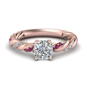 Pink Sapphire Cushion Diamond Ring