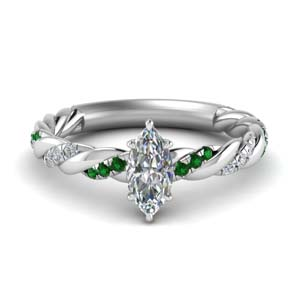 twisted vine marquise diamond engagement ring for women with emerald in FD9127MQRGEMGR NL WG