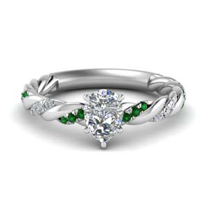 pear shaped twisted delicate diamond engagement ring with emerald in FD9127PERGEMGR NL WG