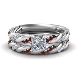 Twisted Vine Ruby Bridal Ring Set