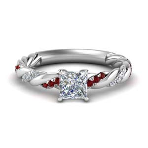 princess cut twisted delicate diamond engagement ring with ruby in FD9127PRRGRUDR NL WG