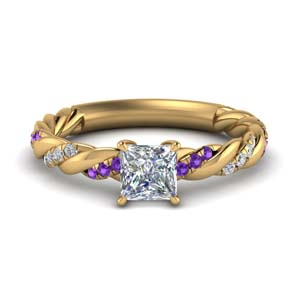 Purple Topaz Braided Diamond Ring