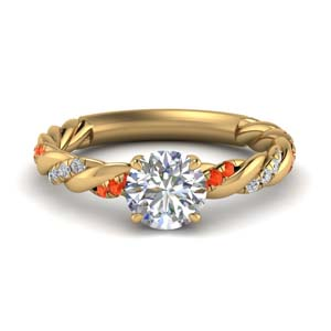 round cut twisted delicate diamond engagement ring with orange topaz in FD9127RORGPOTO NL YG