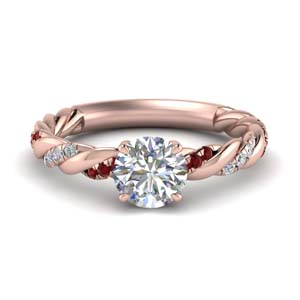 round cut twisted delicate diamond engagement ring with ruby in FD9127RORGRUDR NL RG