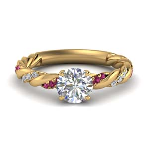 round cut twisted delicate diamond engagement ring with pink sapphire in FD9127RORGSADRPI NL YG