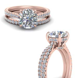 Hidden Halo Wedding Ring Set