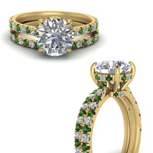 Emerald Under Halo Ring And Band