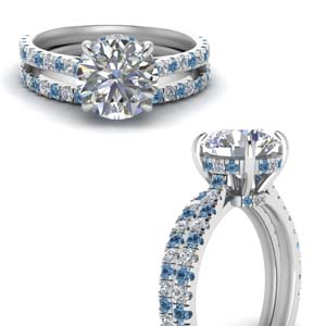Topaz Wedding Ring Set For Women