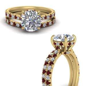 Hidden Halo Ruby Wedding Set