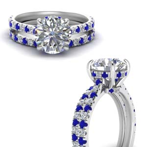Hidden Halo Sapphire Wedding Set