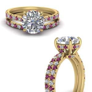 Pink Sapphire Ring With Curved Band