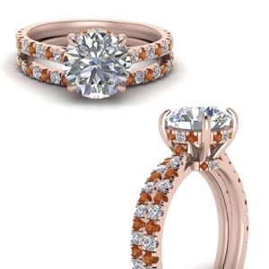 Orange Sapphire Bridal Ring Set