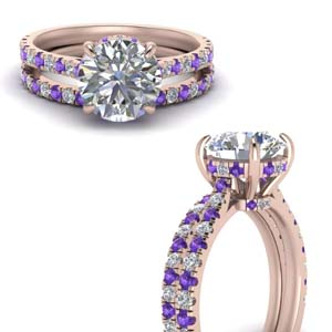 Hidden Halo Purple Topaz Bridal Set