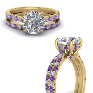 Yellow Gold Purple Topaz Bridal Set
