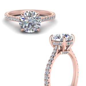 2 Ctw. Under Halo Ring 18K Rose Gold