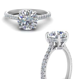 Platinum 2 Ct. Diamond Hidden Halo Ring