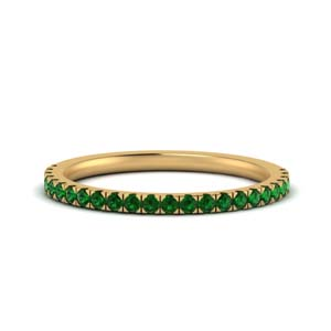 Delicate Emerald Wedding Band