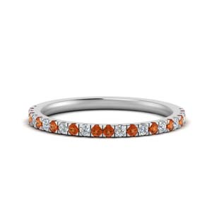 Orange Sapphire White Gold Band