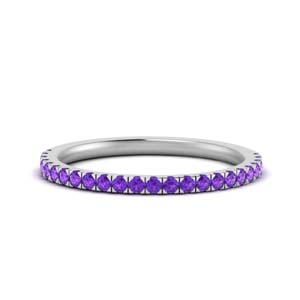 Platinum Purple Topaz Wedding Band