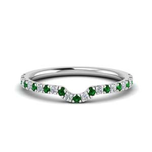 U Prong Emerald Wedding Band