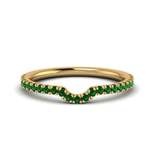 Delicate Curved Emerald Band