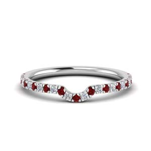 Platinum Curved Ruby Band