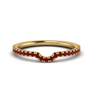 Contour Curved Band With Ruby