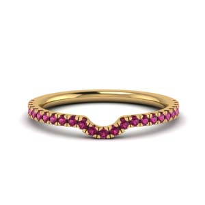 Contour Curved Pink Sapphire Band