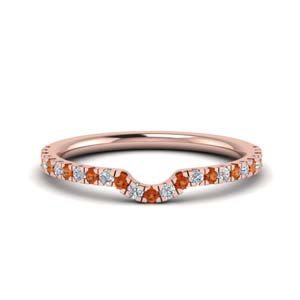 Delicate Orange Sapphire Wedding Band
