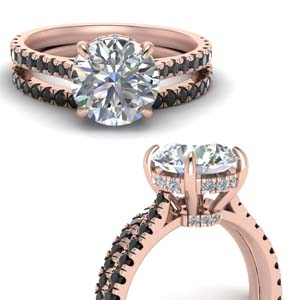 3 Carat Hidden Halo Bridal Ring Set