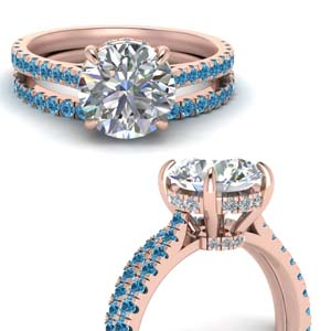 3 Ct. Hidden Halo Ring With Band