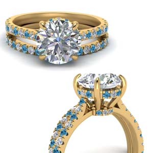 Blue Topaz Cathedral Wedding Set