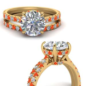 Wedding Set With Orange Topaz
