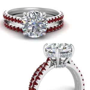 3 Carat Diamond Halo Bridal Ring Set