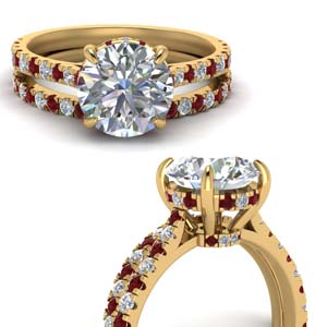 Hidden Halo Ruby Bridal Ring Set