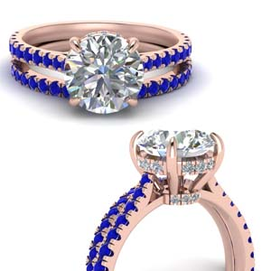 3 Ct. Sapphire Under Halo Bridal Set