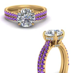 2 Carat Pave Wrap Wedding Set