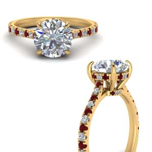 Under Halo Pave Ring With Ruby