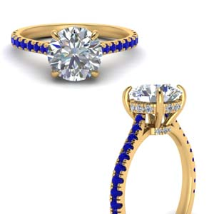 Sapphire Under Halo Cathedral Ring