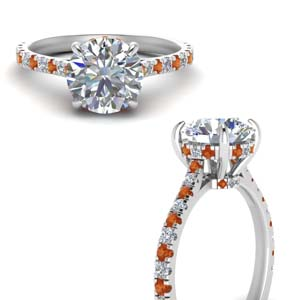 Pave Set Orange Sapphire Ring