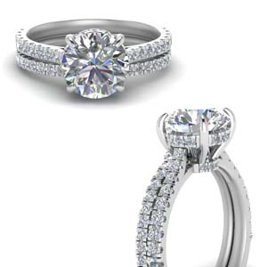 Hidden Halo Round Diamond Ring Set