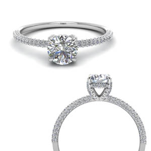 Thin Hidden Halo Diamond Ring