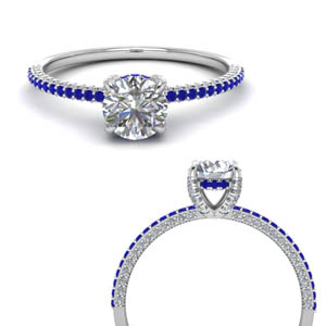 Thin Diamond Ring With Sapphire