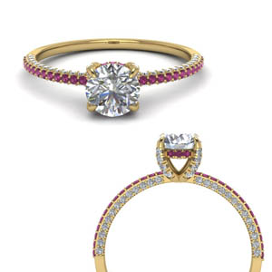 Under Halo Pink Sapphire Ring