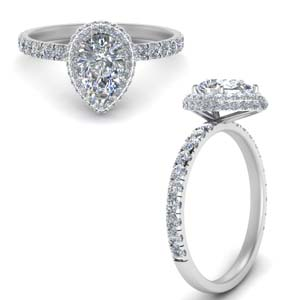 Pear Shaped Halo Weeding Rings