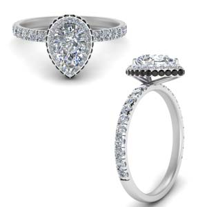 Petite Pear Shaped Moissanite Halo Ring