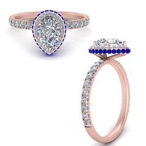 Pear Shaped Sapphire Halo Rings
