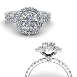 Double Band Halo Diamond Ring