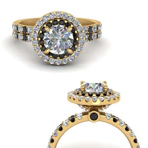 18K Yellow Gold  Black Diamond Ring